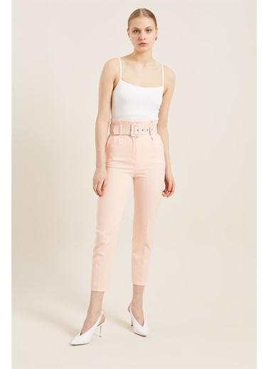 Z Giyim Kadın  Mavi  Kemerli Yüksek Bel Kumaş Pantolon Somon